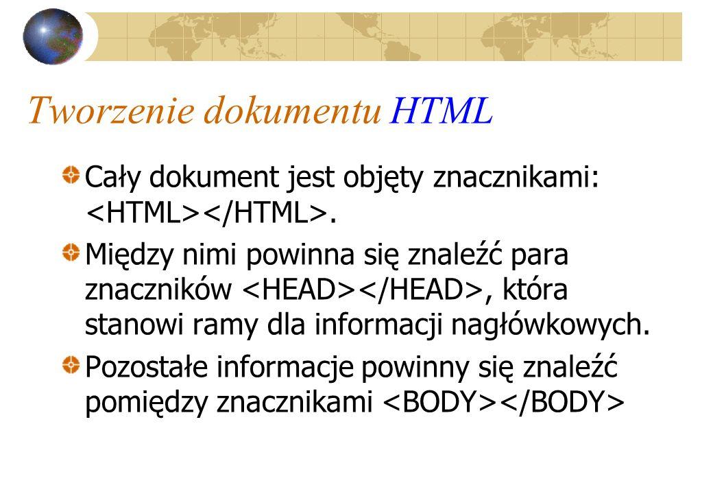 Tworzenie dokumentu HTML Cały dokument jest objęty znacznikami:. Między nimi powinna się znaleźć para znaczników, która stanowi ramy dla informacji na