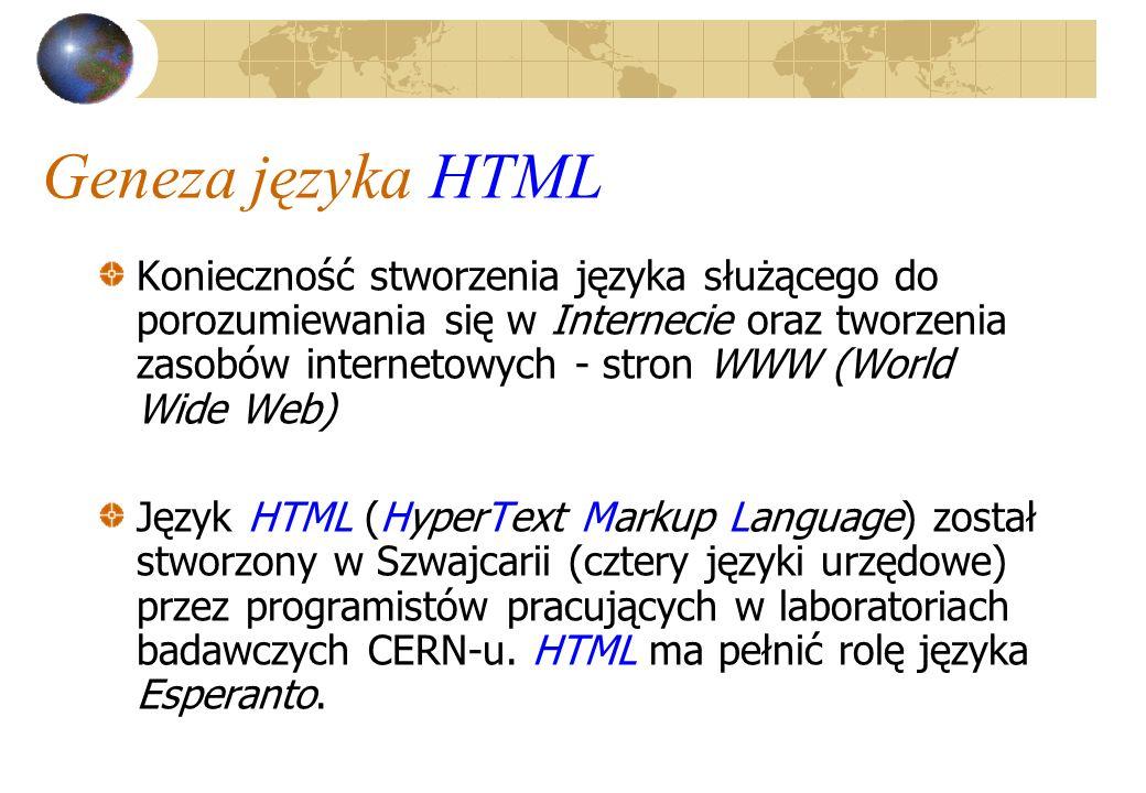 Geneza języka HTML Konieczność stworzenia języka służącego do porozumiewania się w Internecie oraz tworzenia zasobów internetowych - stron WWW (World
