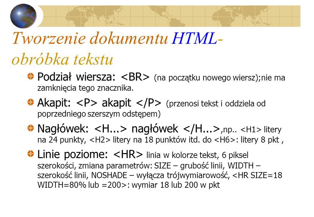 Tworzenie dokumentu HTML- obróbka tekstu Podział wiersza: (na początku nowego wiersz);nie ma zamknięcia tego znacznika. Akapit: akapit (przenosi tekst