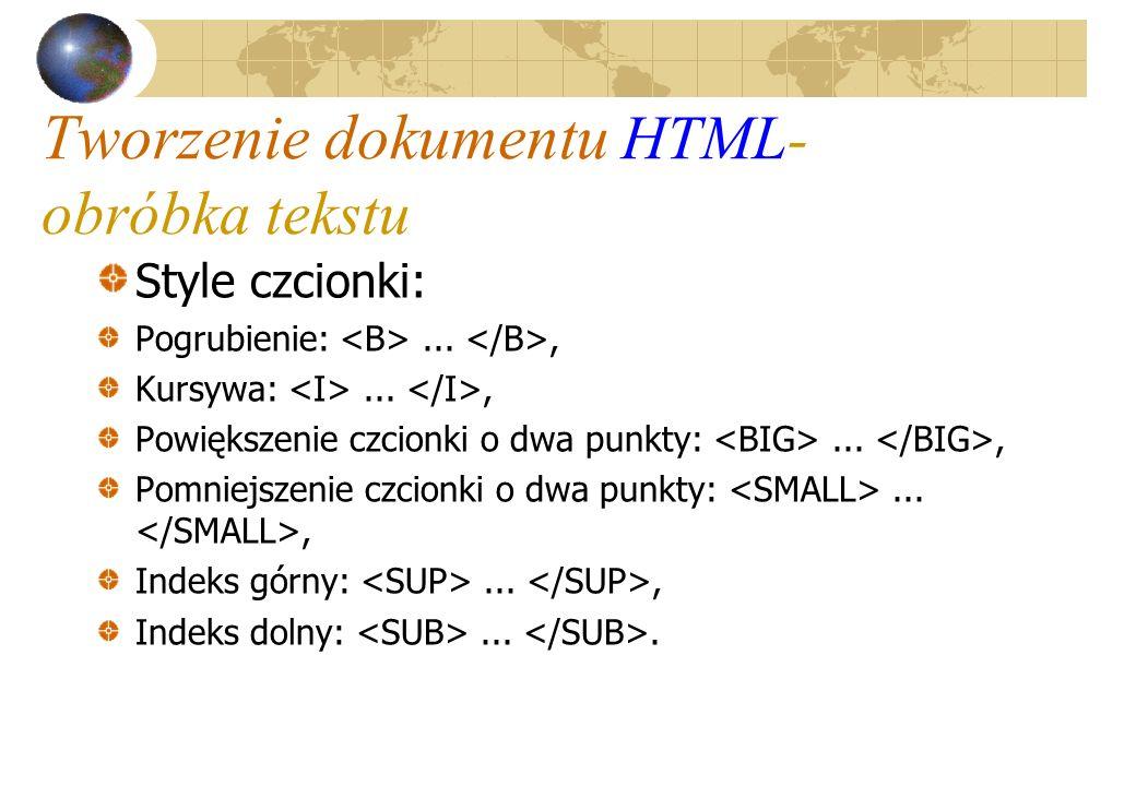 Tworzenie dokumentu HTML- obróbka tekstu Style czcionki: Pogrubienie:..., Kursywa:..., Powiększenie czcionki o dwa punkty:..., Pomniejszenie czcionki