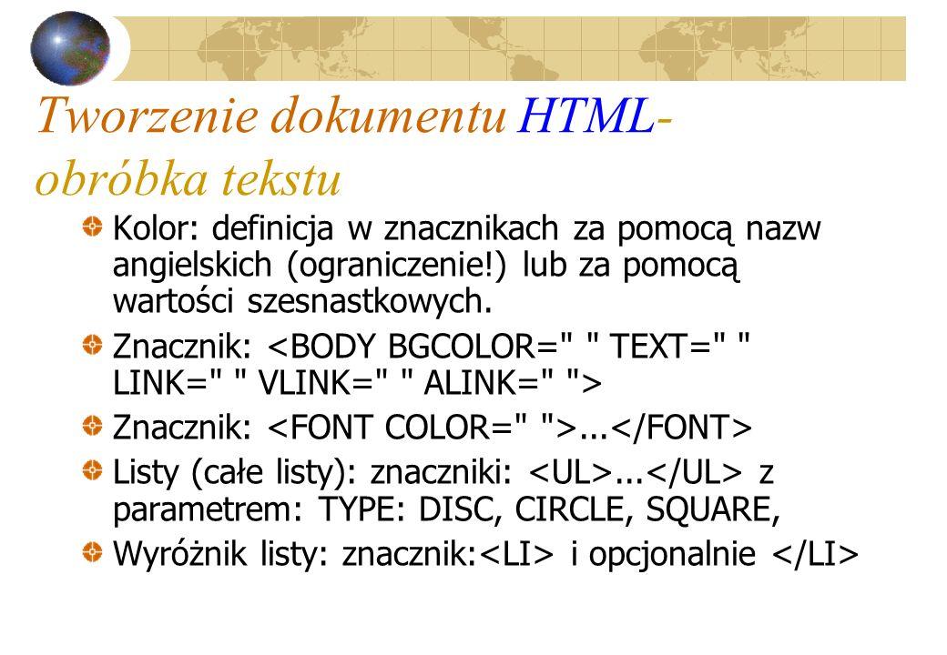 Tworzenie dokumentu HTML- obróbka tekstu Kolor: definicja w znacznikach za pomocą nazw angielskich (ograniczenie!) lub za pomocą wartości szesnastkowy