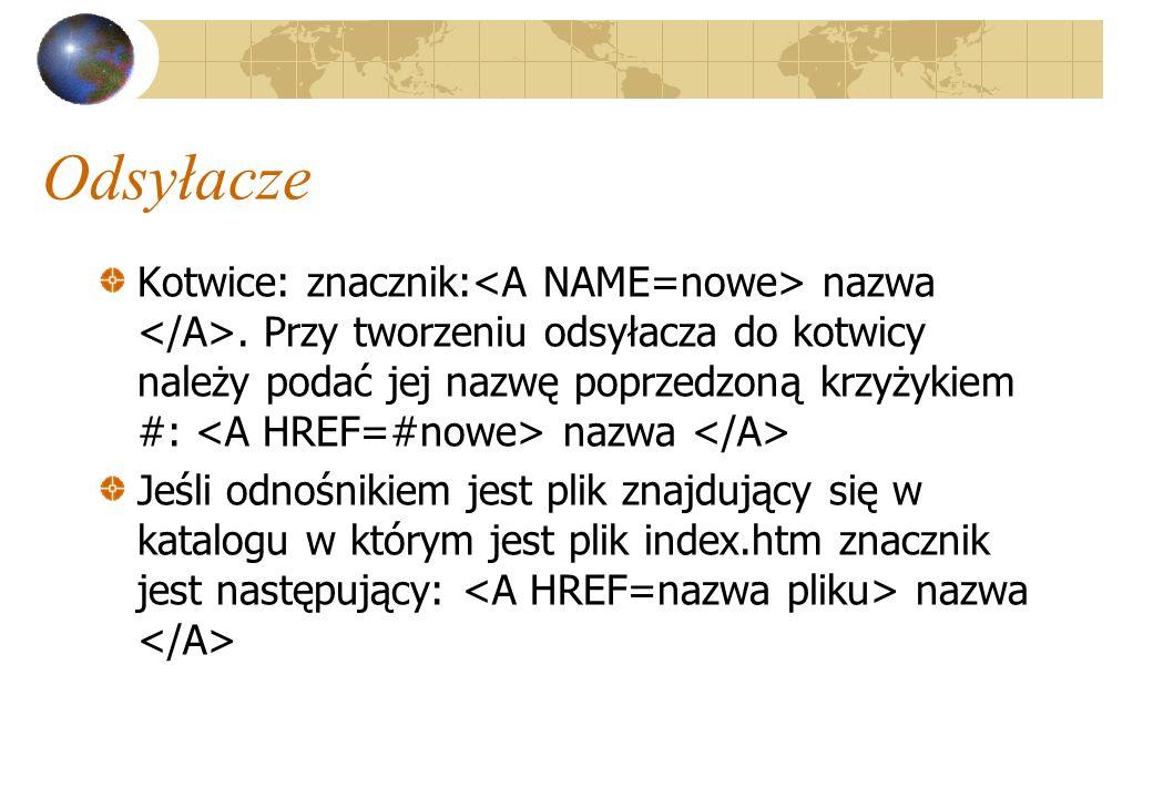 Odsyłacze Kotwice: znacznik: nazwa. Przy tworzeniu odsyłacza do kotwicy należy podać jej nazwę poprzedzoną krzyżykiem #: nazwa Jeśli odnośnikiem jest