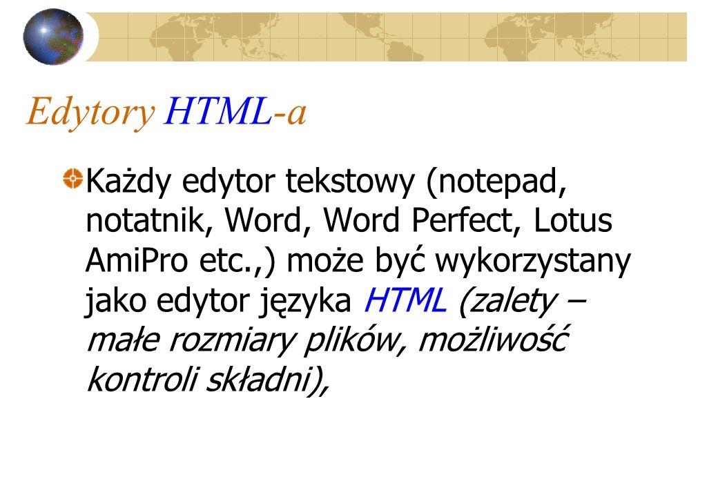 Edytory HTML-a Każdy edytor tekstowy (notepad, notatnik, Word, Word Perfect, Lotus AmiPro etc.,) może być wykorzystany jako edytor języka HTML (zalety