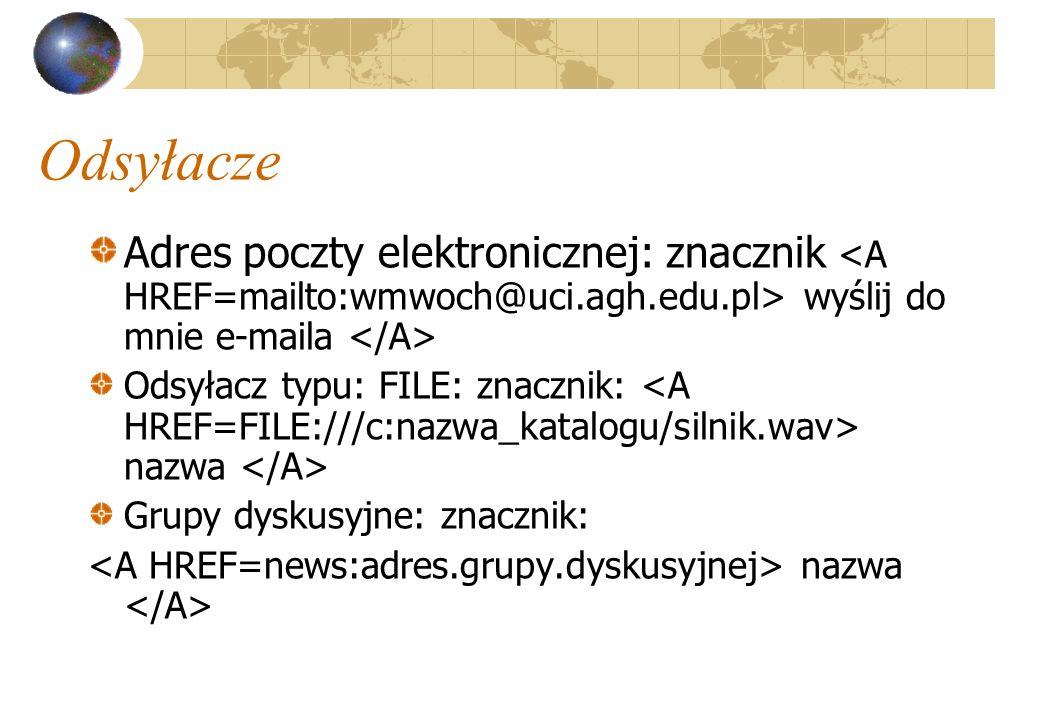Odsyłacze Adres poczty elektronicznej: znacznik wyślij do mnie e-maila Odsyłacz typu: FILE: znacznik: nazwa Grupy dyskusyjne: znacznik: nazwa