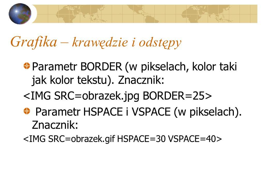 Grafika – krawędzie i odstępy Parametr BORDER (w pikselach, kolor taki jak kolor tekstu). Znacznik: Parametr HSPACE i VSPACE (w pikselach). Znacznik: