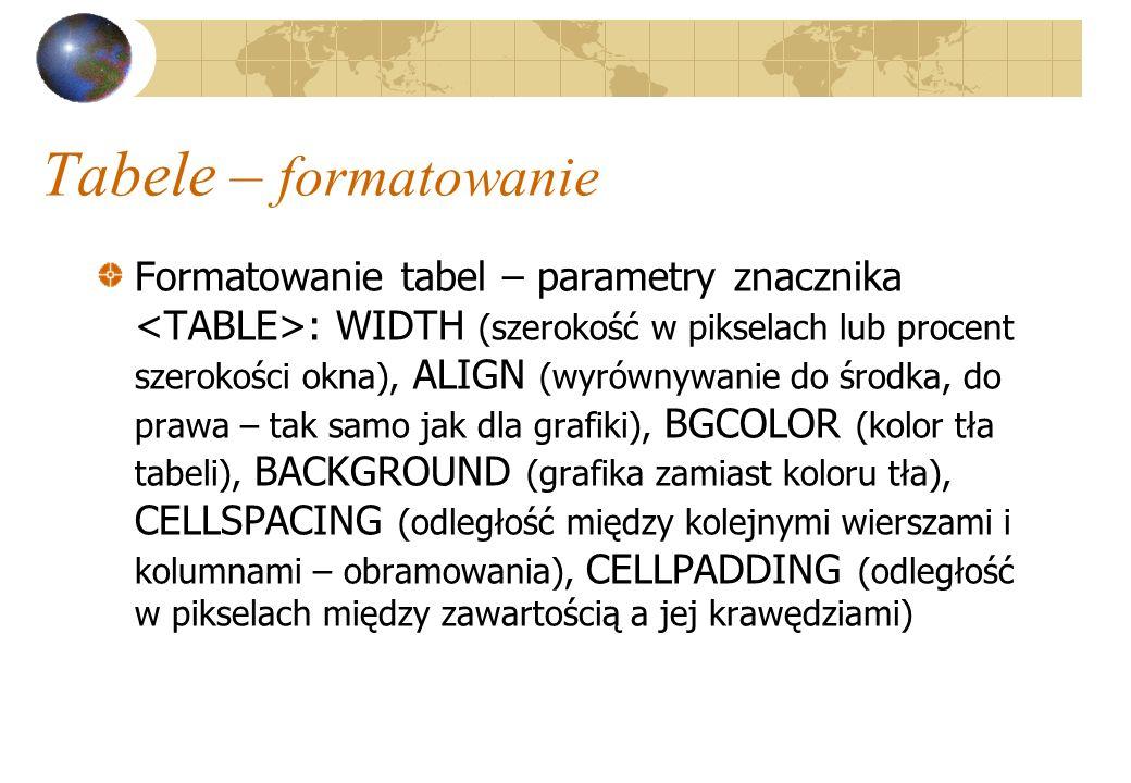 Tabele – formatowanie Formatowanie tabel – parametry znacznika : WIDTH (szerokość w pikselach lub procent szerokości okna), ALIGN (wyrównywanie do śro
