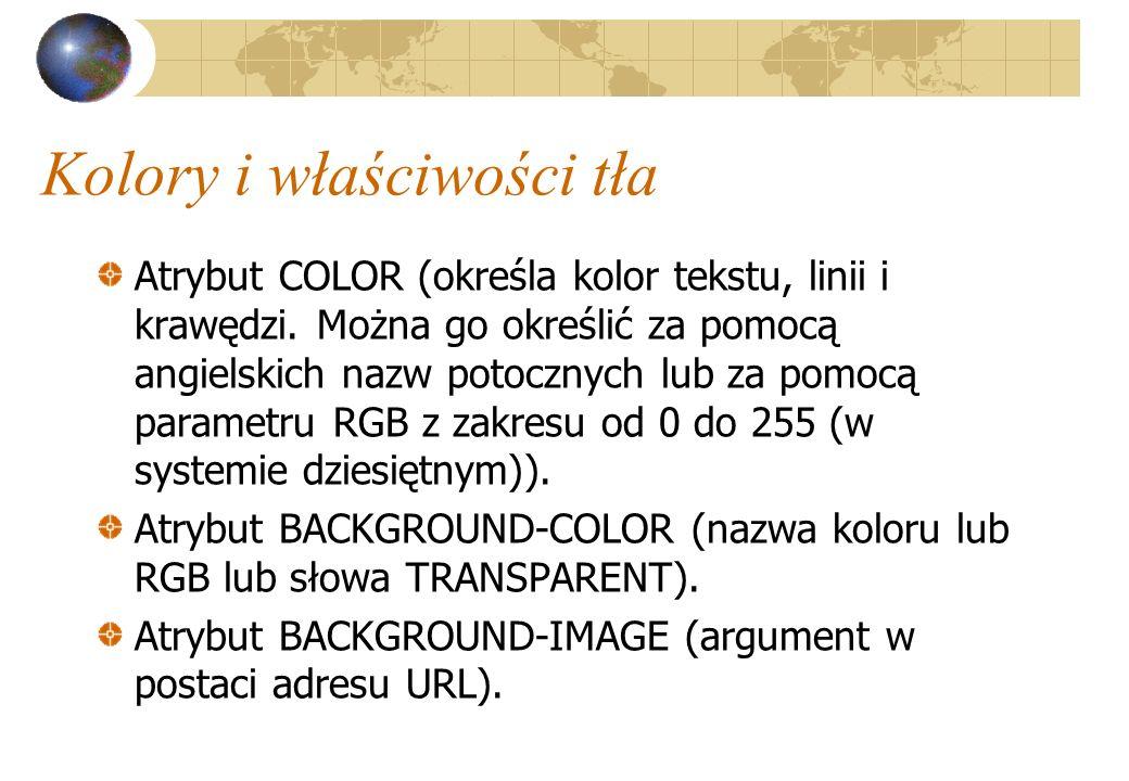 Kolory i właściwości tła Atrybut COLOR (określa kolor tekstu, linii i krawędzi. Można go określić za pomocą angielskich nazw potocznych lub za pomocą