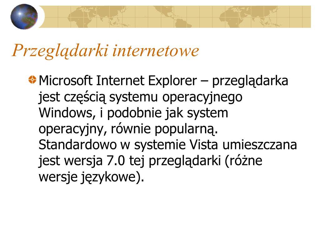 Przeglądarki internetowe Microsoft Internet Explorer – przeglądarka jest częścią systemu operacyjnego Windows, i podobnie jak system operacyjny, równi