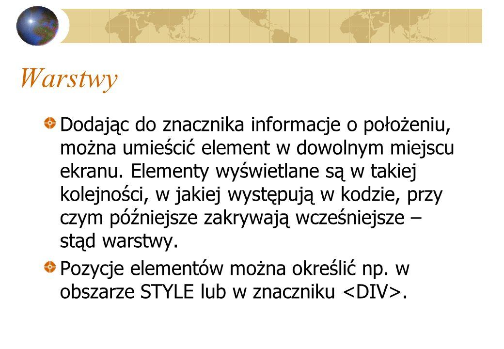 Warstwy Dodając do znacznika informacje o położeniu, można umieścić element w dowolnym miejscu ekranu. Elementy wyświetlane są w takiej kolejności, w