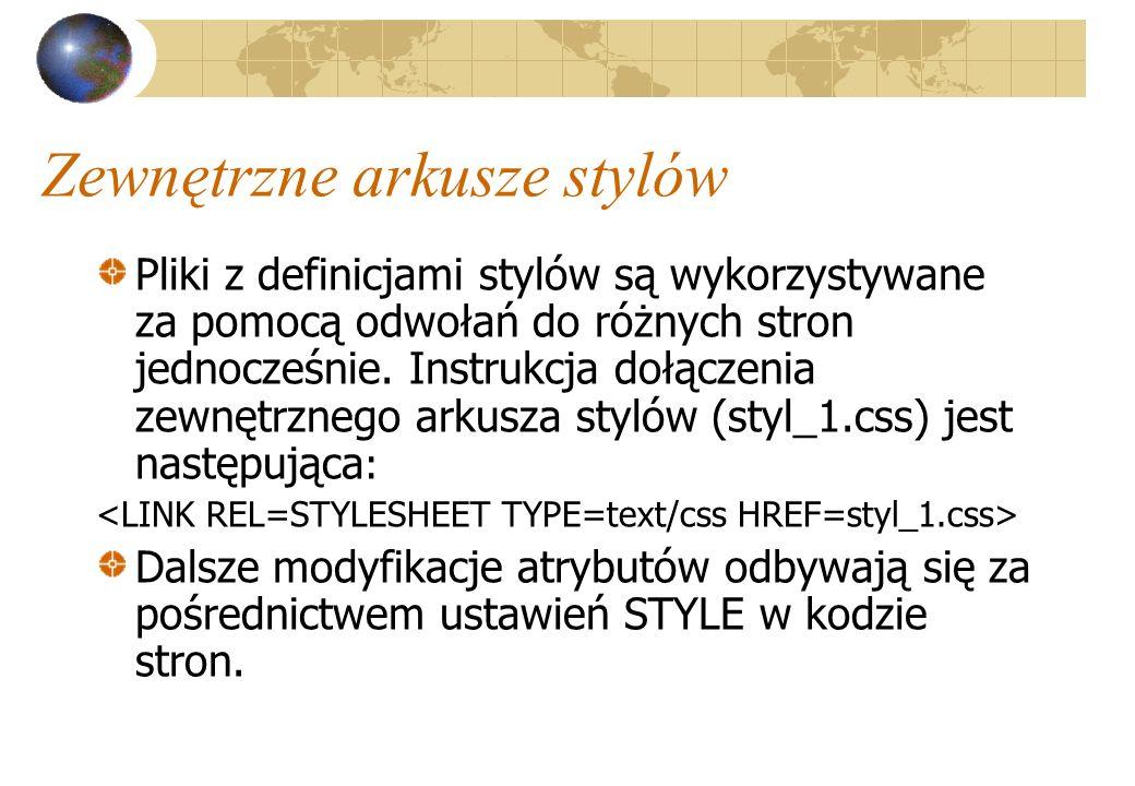 Zewnętrzne arkusze stylów Pliki z definicjami stylów są wykorzystywane za pomocą odwołań do różnych stron jednocześnie. Instrukcja dołączenia zewnętrz