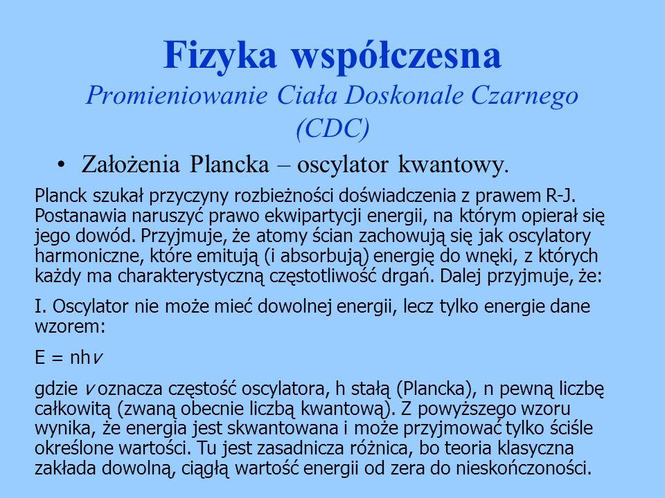 Założenia Plancka – oscylator kwantowy. Fizyka współczesna Promieniowanie Ciała Doskonale Czarnego (CDC) Planck szukał przyczyny rozbieżności doświadc