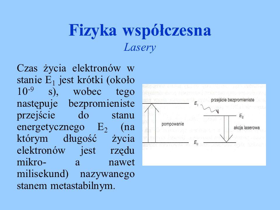 Fizyka współczesna Lasery Emisja wymuszona (indukowana) zachodzi jeżeli atom znajduje się w stanie wzbudzonym, pod wpływem padającego na niego fotonu o odpowiedniej, rezonansowej energii przechodzi na niższy poziom energetyczny emitując swój własny foton.