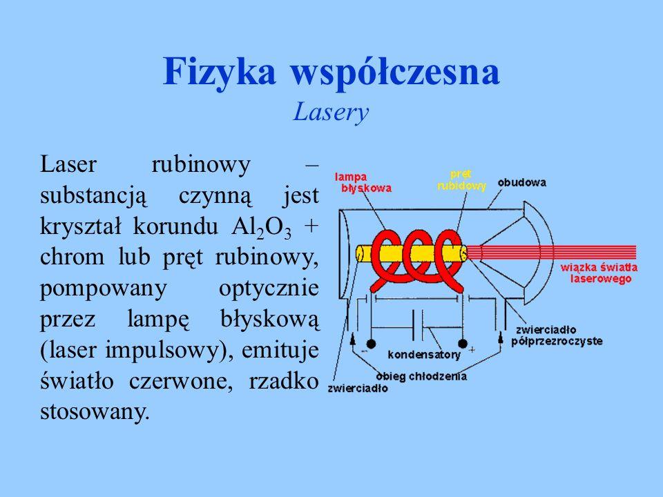 Fizyka współczesna Lasery Laser gazowy – substancją czynną są różne gazy np.