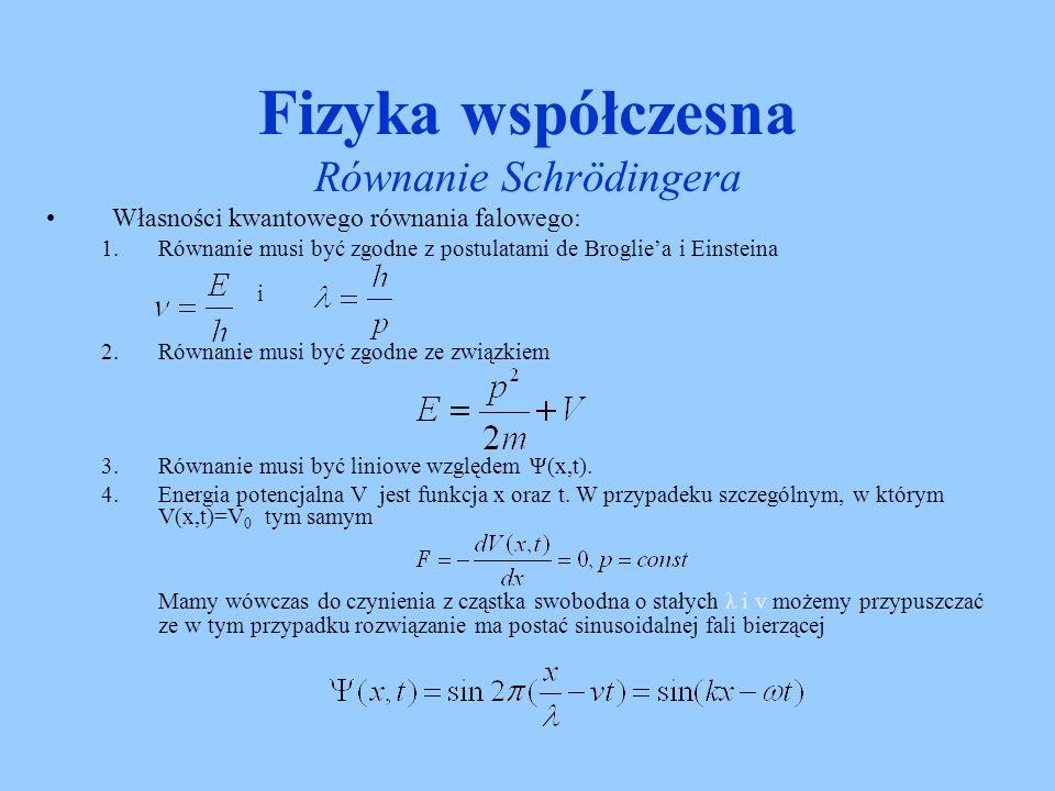 Fizyka współczesna Równanie Schrödingera Rozwiązanie: Zgadujemy rozwiązanie w następującej postaci Jest to równanie Schrödingera