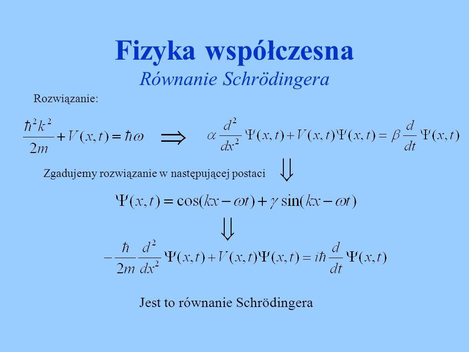 Fizyka współczesna Równanie Schrödingera Jedynym rozwiązaniem równania Schrodingera jest zespolona funkcja falowa – znaczy to że funkcja falowa nie ma żadnego fizycznego znaczenia.
