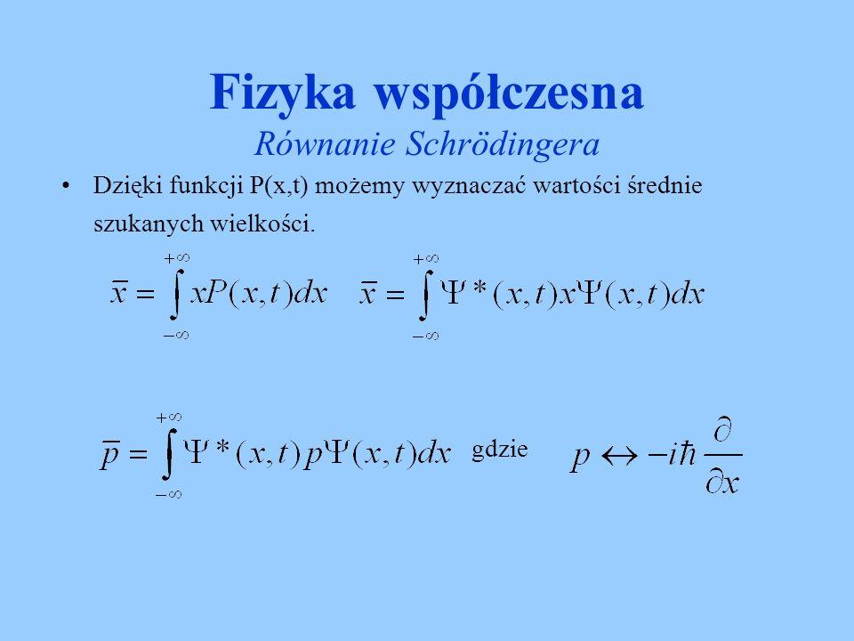 Fizyka współczesna Równanie Schrödingera Równanie Schrödingera niezależne od czasu –Jeśli Energia potencjalna nie zależy od czasu to ψ(x) która określa zależność przestrzenna Ψ(x,t) jest rozwiązaniem równania
