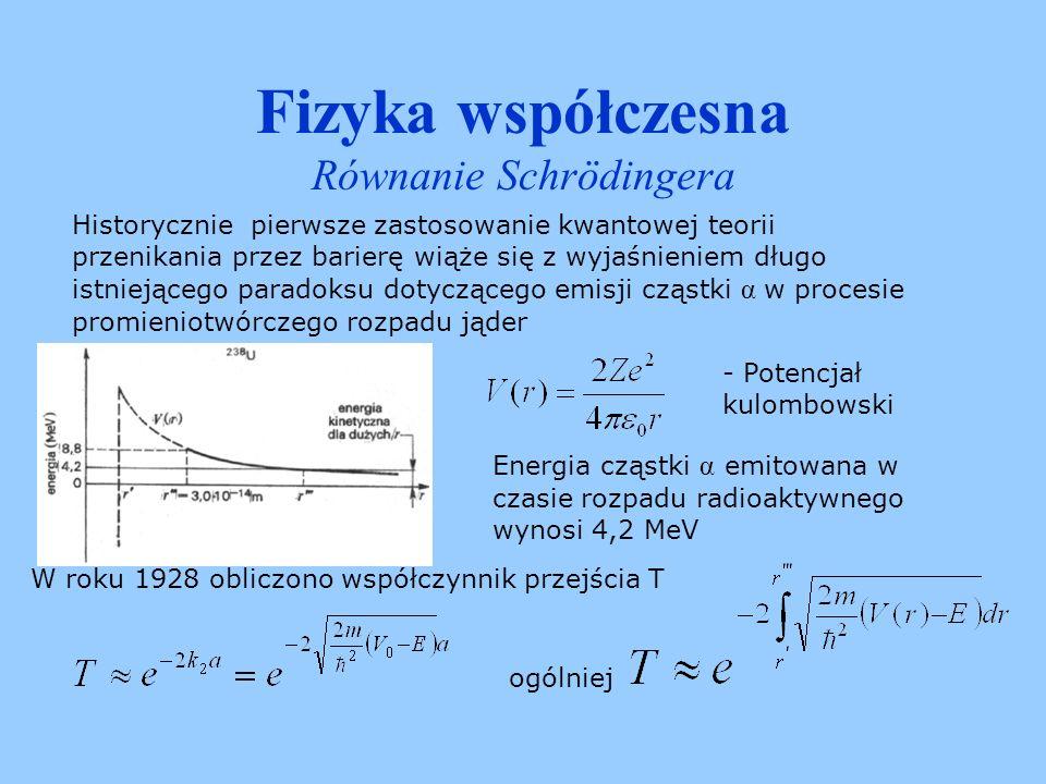 Fizyka współczesna Równanie Schrödingera Dla E 0 funkcja falowa jest czystą falą bieżącą wiec gęstość P(x,t) jest stała.