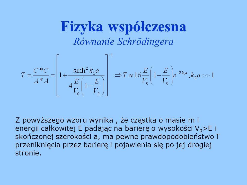 Fizyka współczesna Równanie Schrödingera Dla E>V 0 funkcja własna jest funkcją oscylującą we wszystkich trzech obszarach, ale w obszarze bariery ma ona większą długość fali.