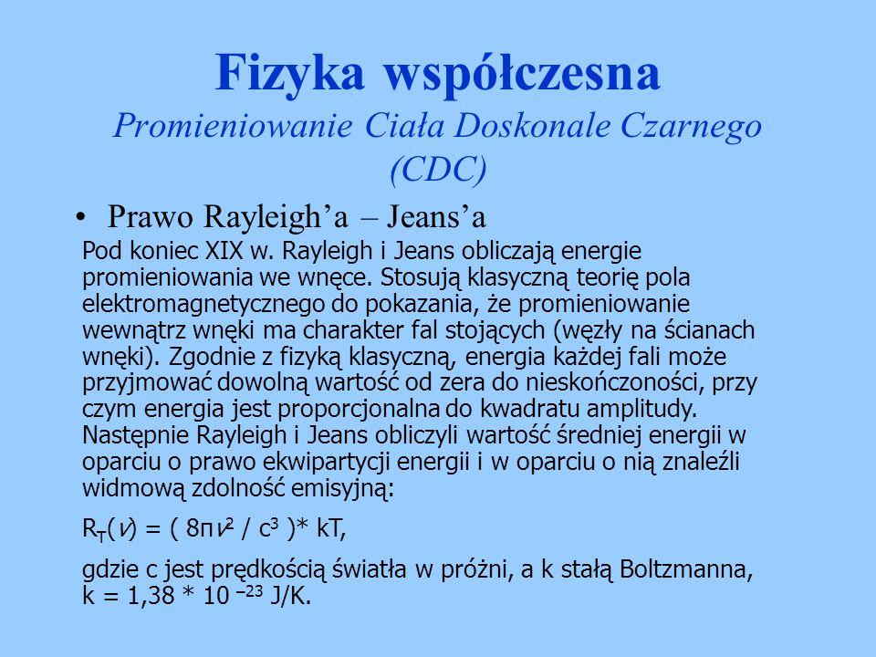 Fizyka współczesna Promieniowanie Ciała Doskonale Czarnego (CDC) Rayleigha – Jeansa katastrofa w nadfiolecie