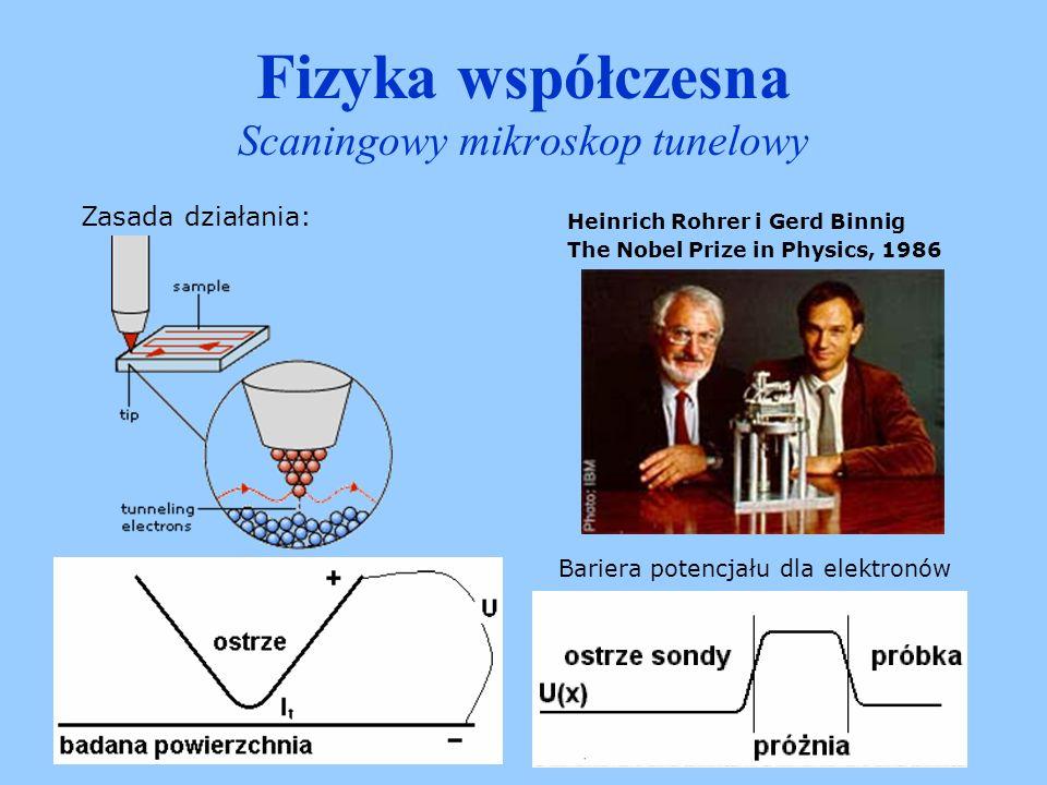 Fizyka współczesna Scaningowy mikroskop tunelowy W czasie pracy igła mikroskopu znajduje się 0,5-1 nm od powierzchni badanej próbki.