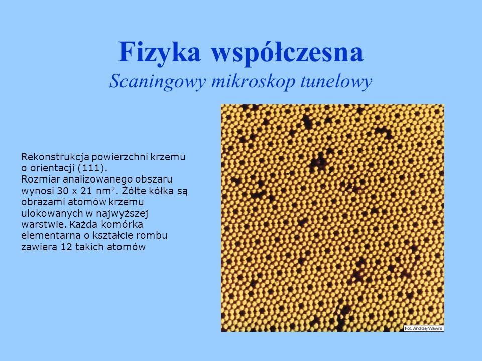 Fizyka współczesna Scaningowy mikroskop tunelowy Powierzchnia kryształu NaCl.