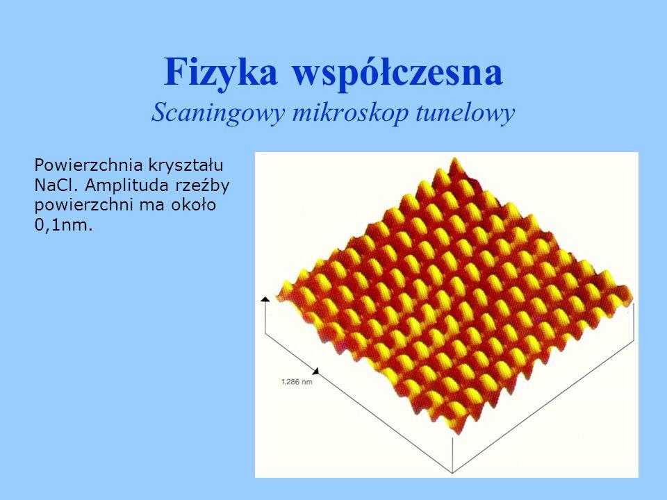 Fizyka współczesna Scaningowy mikroskop tunelowy Mistrzowskie zdolności manipulacji pojedynczymi atomami pokazał amerykański fizyk Don Eigler.