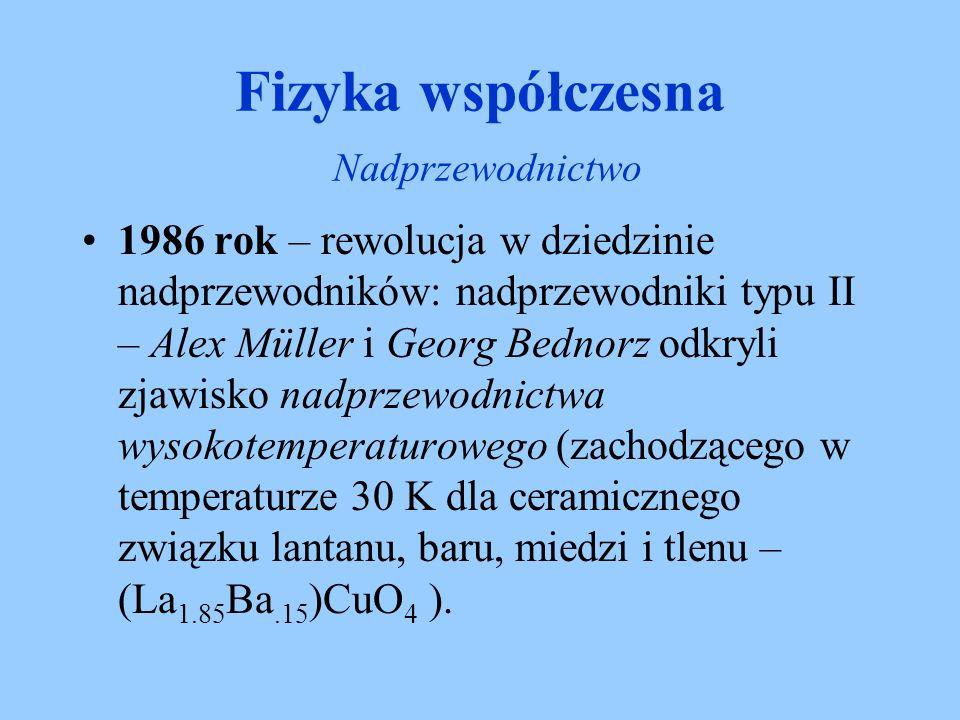 1986 rok – rewolucja w dziedzinie nadprzewodników: nadprzewodniki typu II – Alex Müller i Georg Bednorz odkryli zjawisko nadprzewodnictwa wysokotemper
