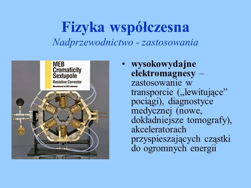 wysokowydajne elektromagnesy – zastosowanie w transporcie (lewitujące pociągi), diagnostyce medycznej (nowe, dokładniejsze tomografy), akceleratorach