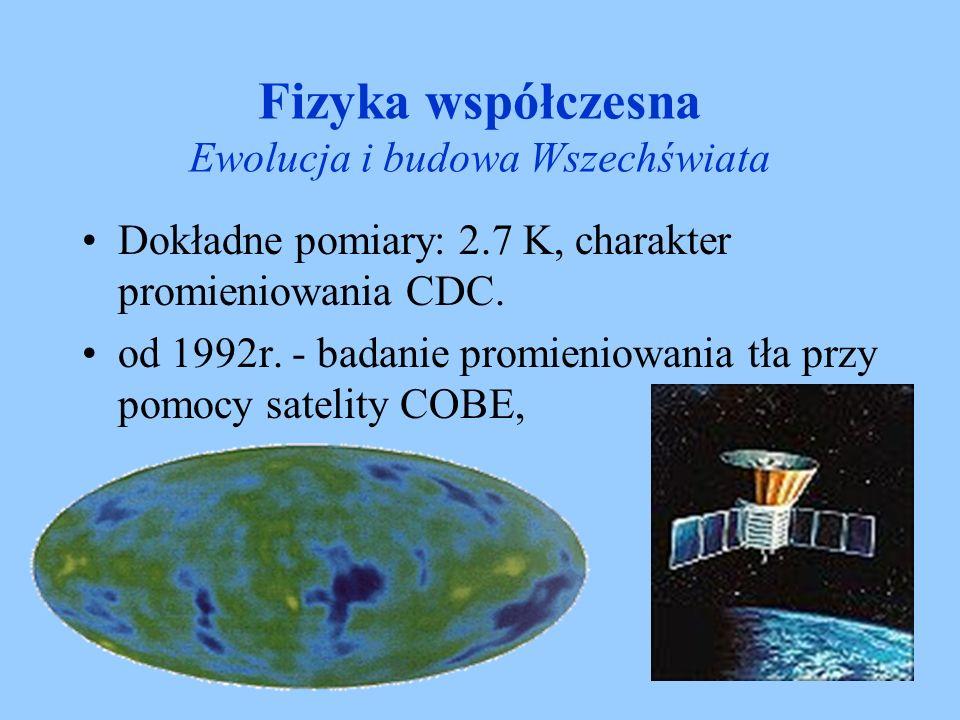 Fizyka współczesna Ewolucja i budowa Wszechświata Dokładne pomiary: 2.7 K, charakter promieniowania CDC. od 1992r. - badanie promieniowania tła przy p