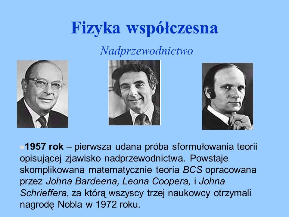 1957 rok – pierwsza udana próba sformułowania teorii opisującej zjawisko nadprzewodnictwa. Powstaje skomplikowana matematycznie teoria BCS opracowana