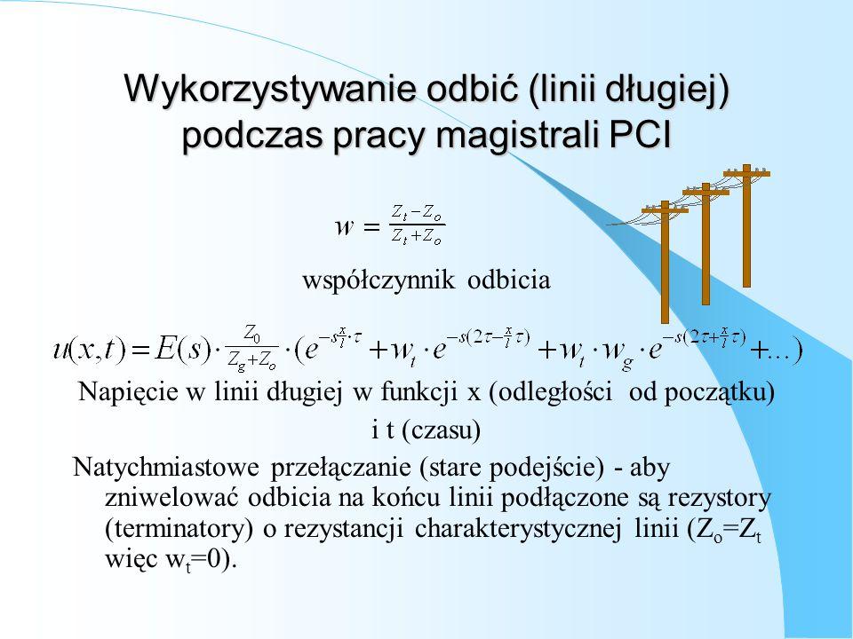 Wykorzystywanie odbić (linii długiej) podczas pracy magistrali PCI współczynnik odbicia Napięcie w linii długiej w funkcji x (odległości od początku)
