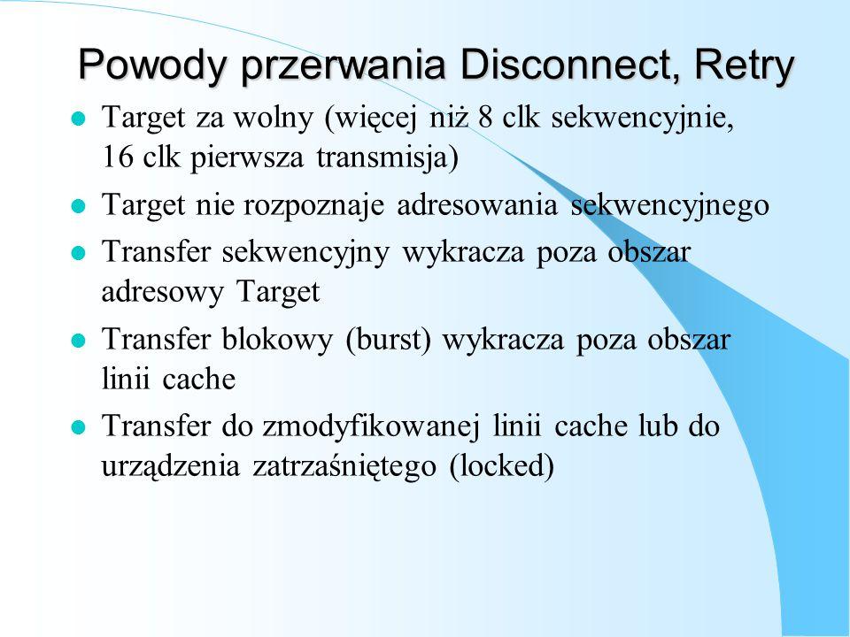 Powody przerwania Disconnect, Retry l Target za wolny (więcej niż 8 clk sekwencyjnie, 16 clk pierwsza transmisja) l Target nie rozpoznaje adresowania