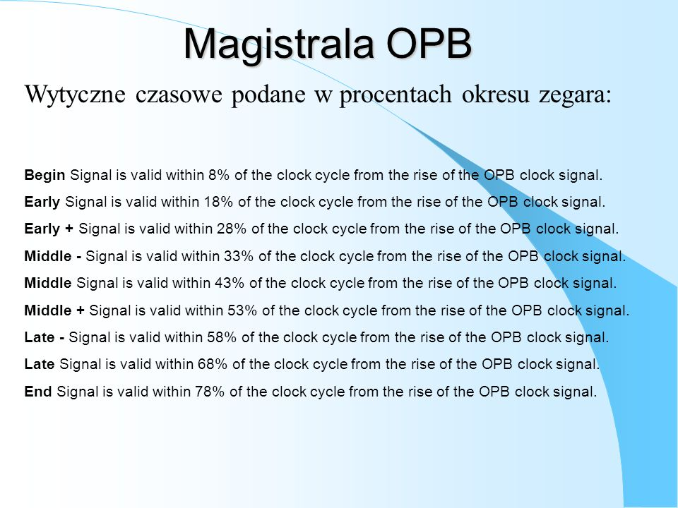Magistrala OPB Wytyczne czasowe podane w procentach okresu zegara: Begin Signal is valid within 8% of the clock cycle from the rise of the OPB clock s