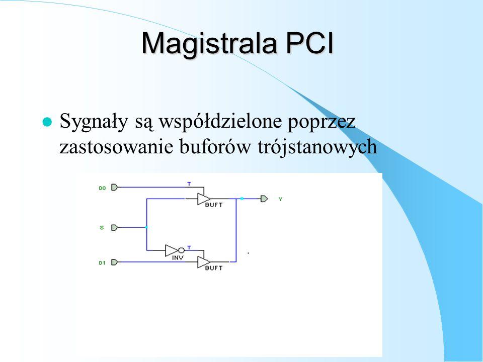Magistrala PCI l Sygnały są współdzielone poprzez zastosowanie buforów trójstanowych