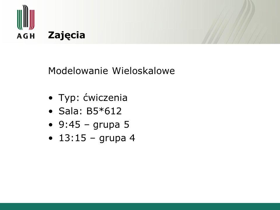 Zajęcia Modelowanie Wieloskalowe Typ: ćwiczenia Sala: B5*612 9:45 – grupa 5 13:15 – grupa 4