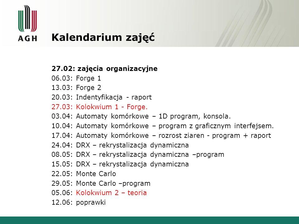 Kalendarium zajęć 27.02: zajęcia organizacyjne 06.03: Forge 1 13.03: Forge 2 20.03: Indentyfikacja - raport 27.03: Kolokwium 1 - Forge. 03.04: Automat