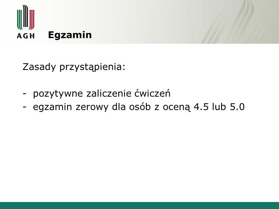 Egzamin Zasady przystąpienia: -pozytywne zaliczenie ćwiczeń -egzamin zerowy dla osób z oceną 4.5 lub 5.0