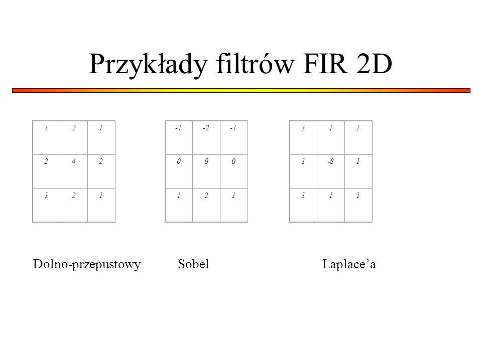 Przykłady filtrów FIR 2D 121 242 121 -2 000 121 111 1-81 111 Dolno-przepustowySobelLaplacea