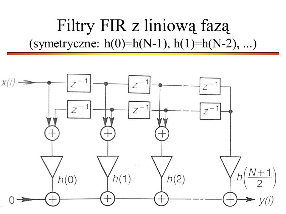Filtry FIR z liniową fazą (symetryczne: h(0)=h(N-1), h(1)=h(N-2),...)