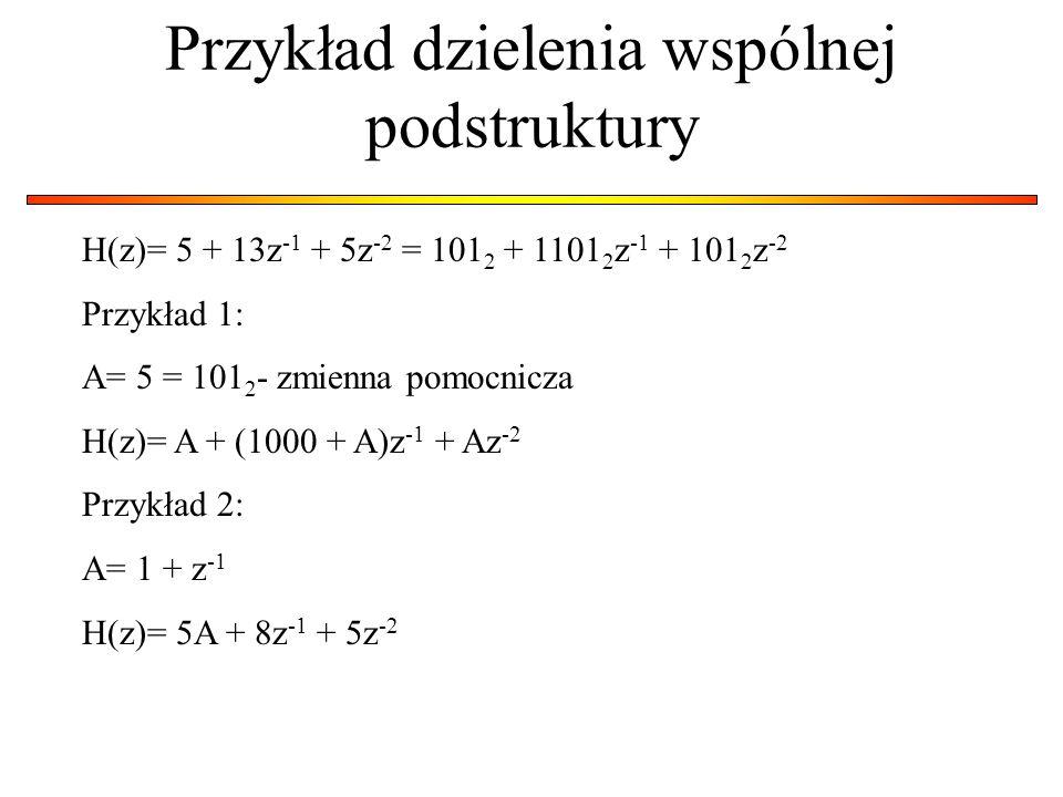 Przykład dzielenia wspólnej podstruktury H(z)= 5 + 13z -1 + 5z -2 = 101 2 + 1101 2 z -1 + 101 2 z -2 Przykład 1: A= 5 = 101 2 - zmienna pomocnicza H(z