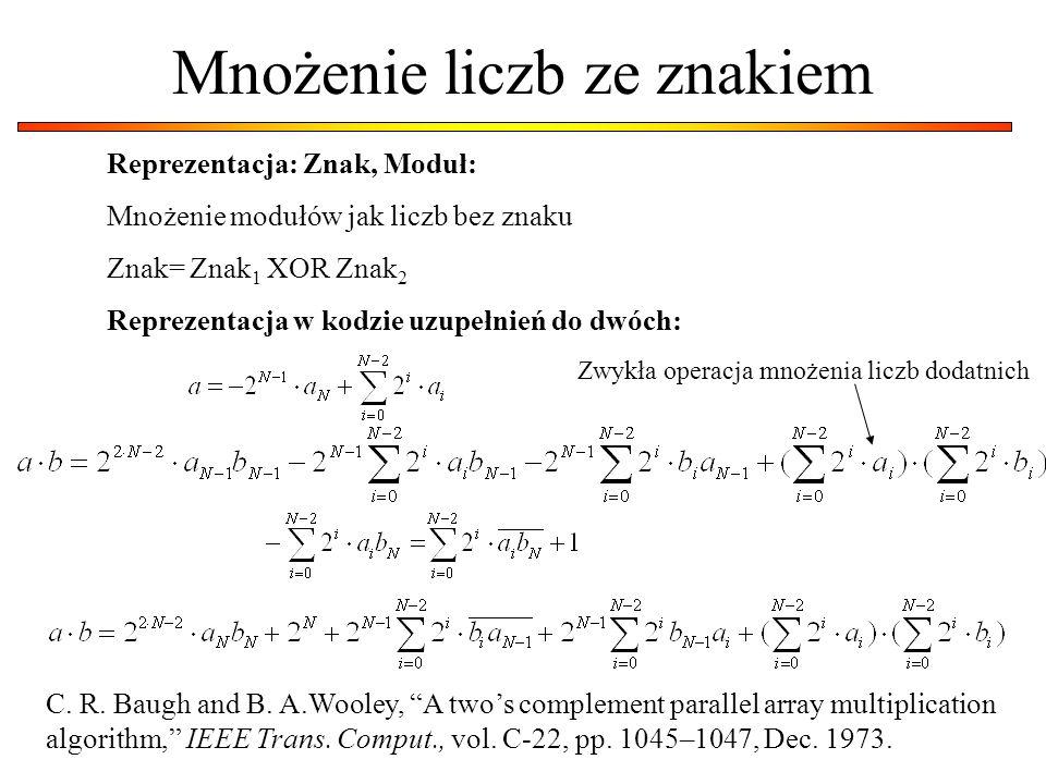 Mnożenie liczb ze znakiem Reprezentacja: Znak, Moduł: Mnożenie modułów jak liczb bez znaku Znak= Znak 1 XOR Znak 2 Reprezentacja w kodzie uzupełnień d
