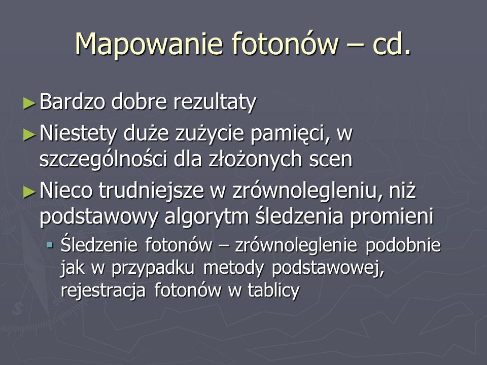 Mapowanie fotonów – cd. Bardzo dobre rezultaty Bardzo dobre rezultaty Niestety duże zużycie pamięci, w szczególności dla złożonych scen Niestety duże