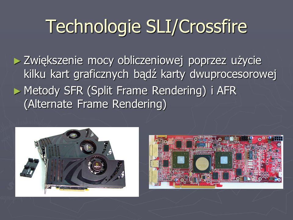Technologie SLI/Crossfire Zwiększenie mocy obliczeniowej poprzez użycie kilku kart graficznych bądź karty dwuprocesorowej Metody SFR (Split Frame Rend