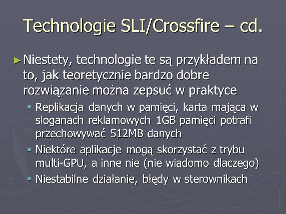 Technologie SLI/Crossfire – cd. Niestety, technologie te są przykładem na to, jak teoretycznie bardzo dobre rozwiązanie można zepsuć w praktyce Nieste