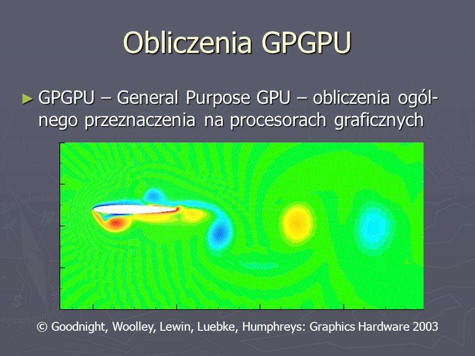 Obliczenia GPGPU GPGPU – General Purpose GPU – obliczenia ogól- nego przeznaczenia na procesorach graficznych GPGPU – General Purpose GPU – obliczenia