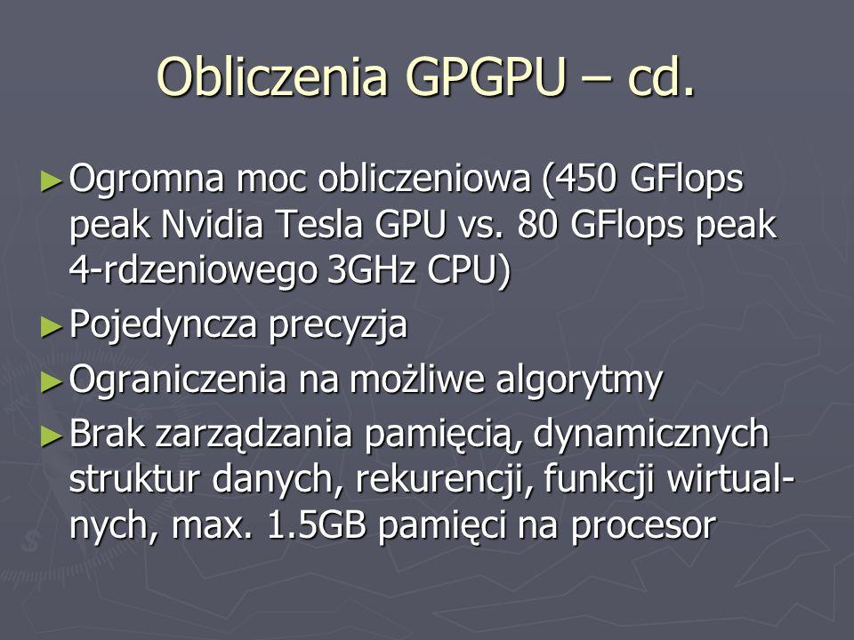 Obliczenia GPGPU – cd. Ogromna moc obliczeniowa (450 GFlops peak Nvidia Tesla GPU vs. 80 GFlops peak 4-rdzeniowego 3GHz CPU) Ogromna moc obliczeniowa