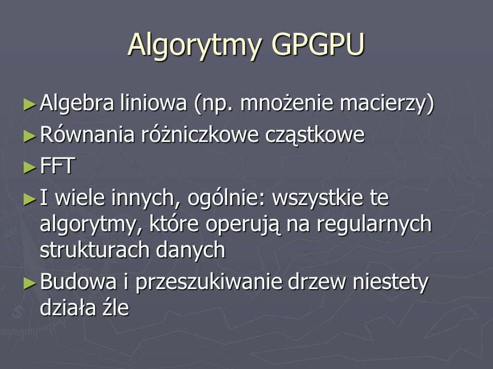 Algorytmy GPGPU Algebra liniowa (np. mnożenie macierzy) Algebra liniowa (np. mnożenie macierzy) Równania różniczkowe cząstkowe Równania różniczkowe cz