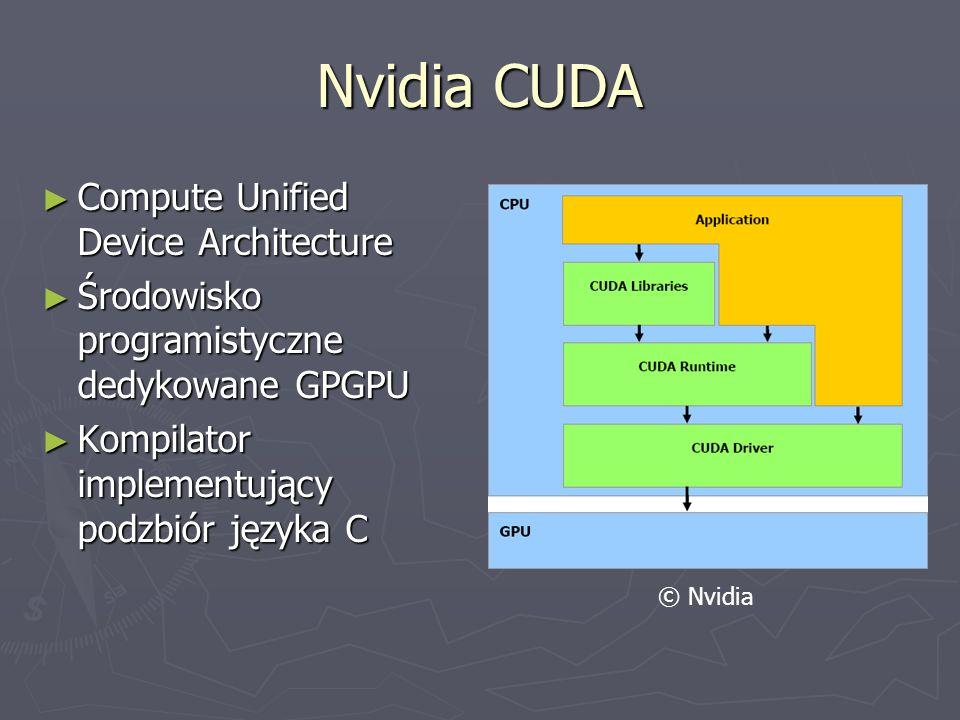 Nvidia CUDA Compute Unified Device Architecture Compute Unified Device Architecture Środowisko programistyczne dedykowane GPGPU Środowisko programisty