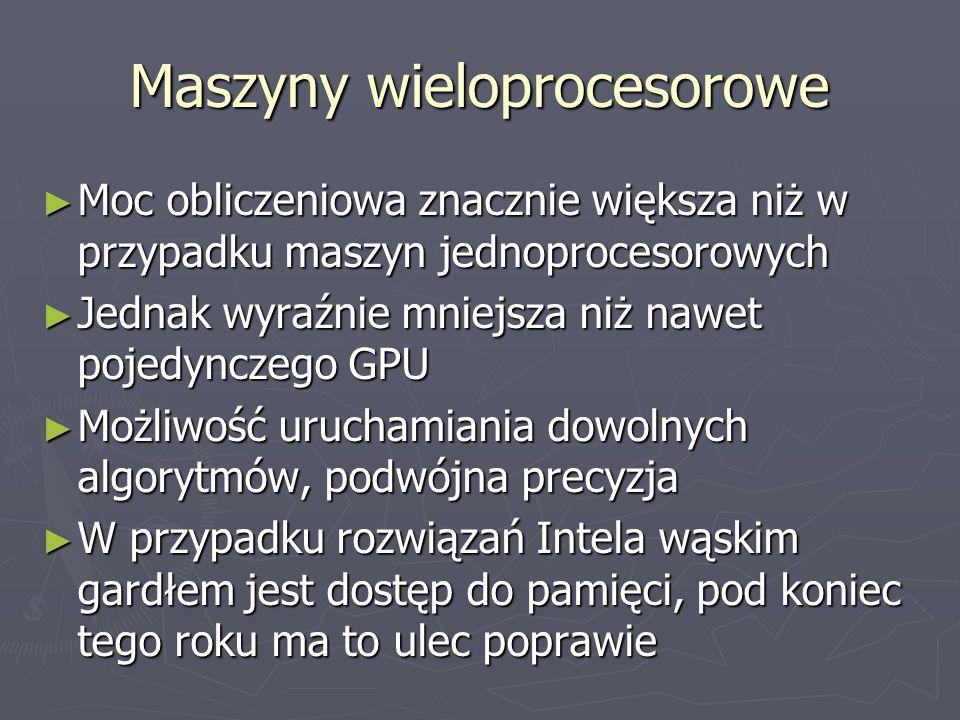Maszyny wieloprocesorowe Moc obliczeniowa znacznie większa niż w przypadku maszyn jednoprocesorowych Moc obliczeniowa znacznie większa niż w przypadku