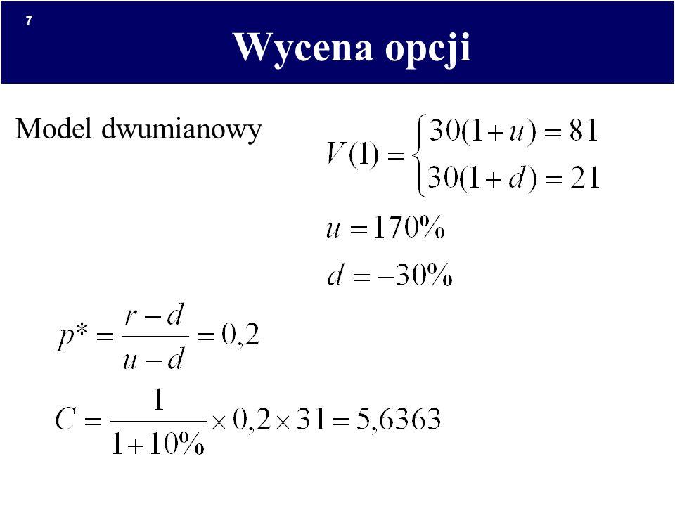 7 Wycena opcji Model dwumianowy